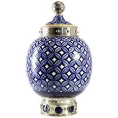 """Geometrische Cerámic Jar und Weißmetall """"Alpaka"""", handgefertigt"""