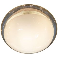 Mid-Century Modern Hand Blown Murano Clear and Opaque Glass Flush Mount