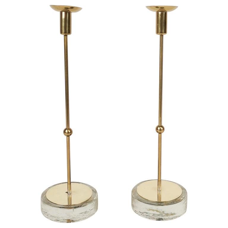 Set of 2 Candleholders Ystad Metall, Sweden, 1950s For Sale