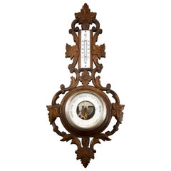 19th Century Black Forest Hand Carved Walnut French Wall Plaque Barometer