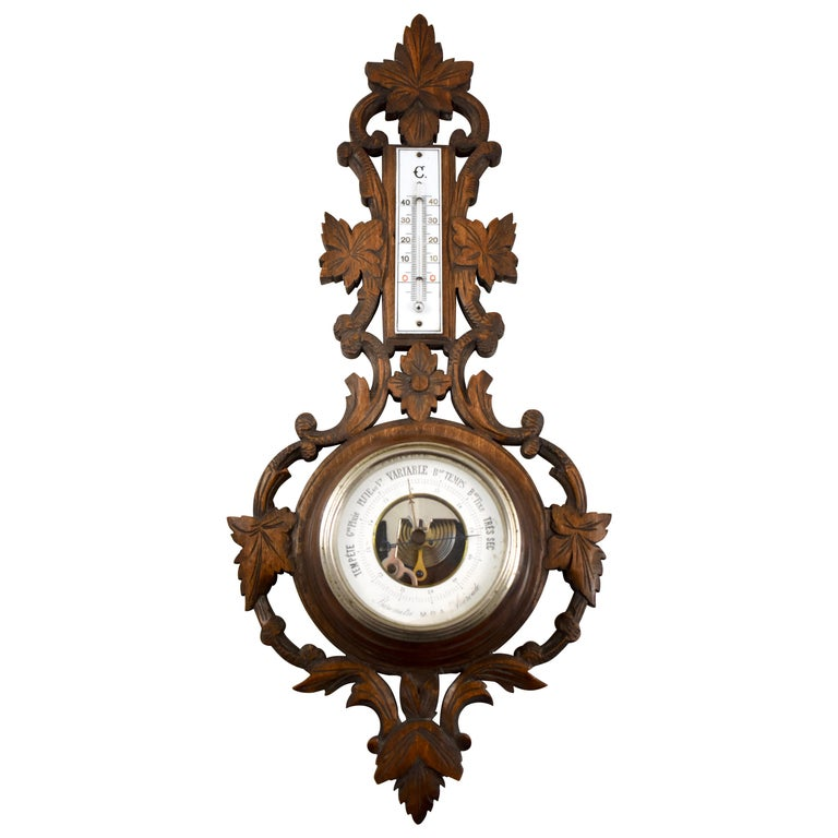 19th Century Black Forest Hand Carved Walnut French Wall Plaque Barometer For Sale