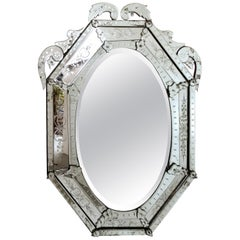 Early 20th Century Etched and Beveled Venetian Mirror