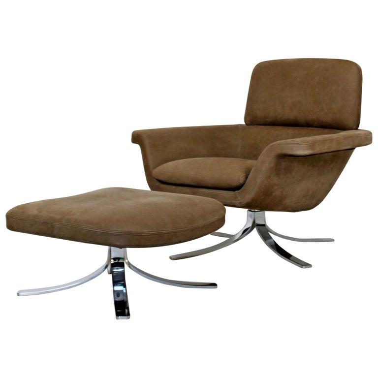 Mid-Century Modern Suede Chrome Lounge Armchair Ottoman ...