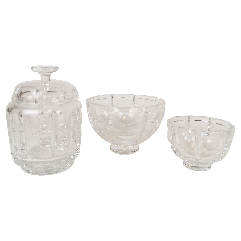 Set of 3 Crystal Pieces Art Deco Orrefors Simon Gate Sweden