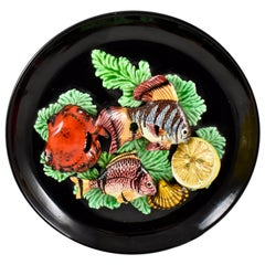 Vallauris French Provençal Palissy Trompe L'oeil Seafood and Lemon Wall Plate