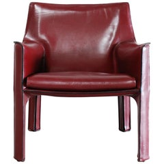 Cassina Cab 414 Leather Lounge Chair Armchair Bordeaux