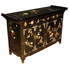 20th Century Lacquered Painted and Carved Wood Chinese Sideboard, 1960