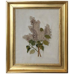 First Quarter of the 19th Century Lilac Silk Embroidery, England, Original Frame