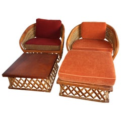 Pair of Uniquely Large Equipale Lounge Chairs with Ottomans