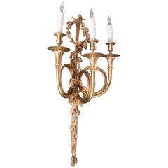 "Pair of Gilt Bronze Trumpet Wall Sconces, Bronze Doré, Hunting Lodge ""La chasse"""