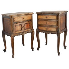 Pair of Nightstands Side Cabinets French Bedside Tables, Early 20th Century