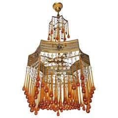 Murano Art Deco, Jugendstil Bernstein Glastropfen & Kristall 4-Arm Vergoldeter Kronleuchter