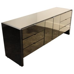 1970s Ello Credenza with Smoky Mirrored Glass and Gunmetal-Grey Steel Veneer