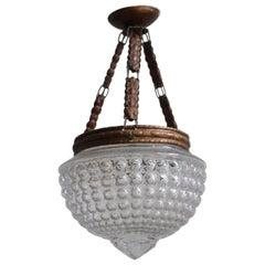 Late 19th Antique Art Nouveau Pendant Lamp with Geometric Bubble Glass