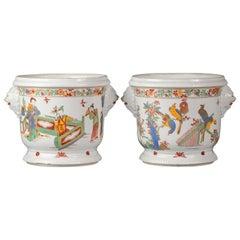 Pair of French Porcelain Orientalist Cachepots, circa 1880