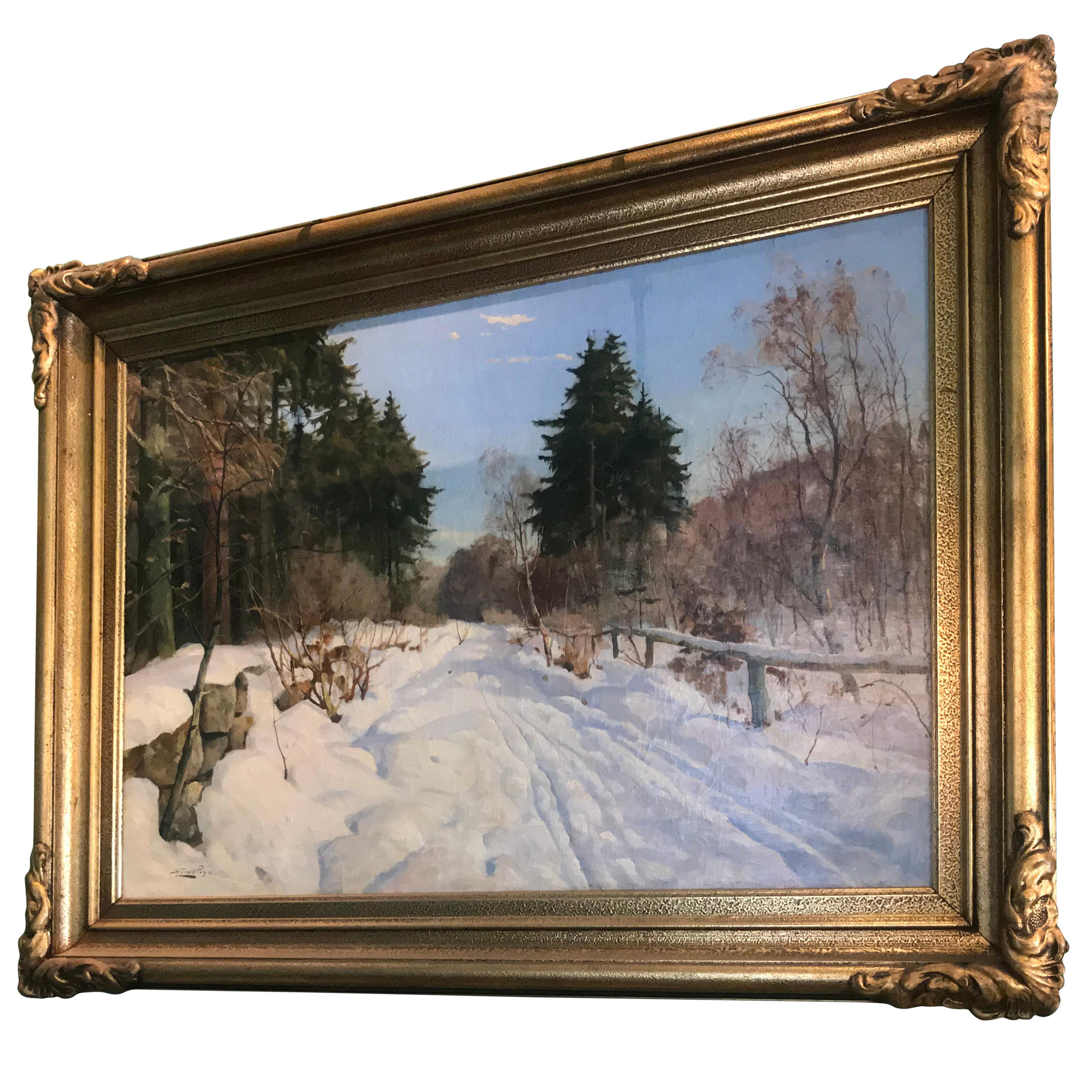 Winter Scene of Country Road by Harald Pryhn Danish Painting Oil on Canvas snow