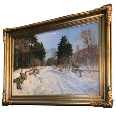 Winter Scene of a Country Road by Harald Pryhn, Danish Painting Oil on Canvas