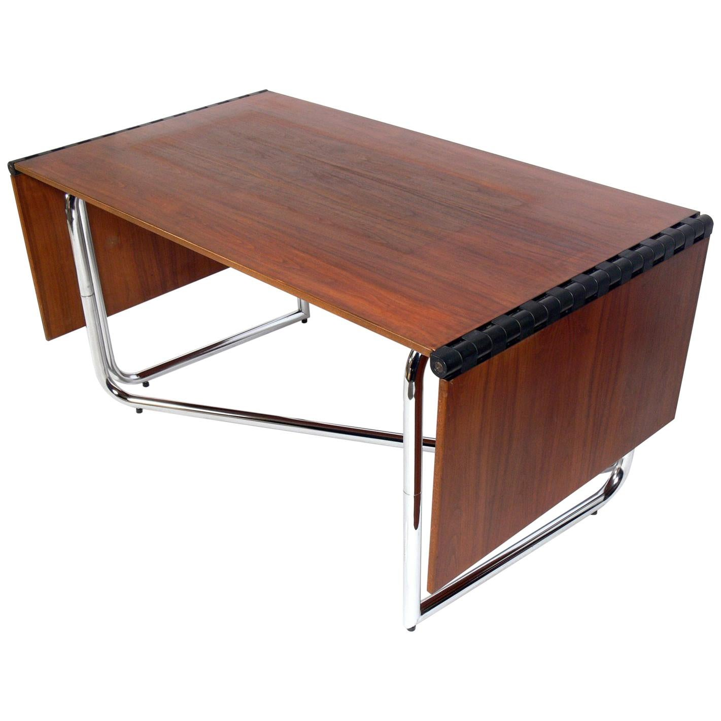 1970s Italian Drop Leaf Dining Table or Desk