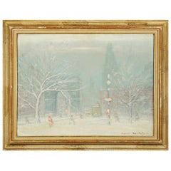 Johann Berthelsen, Manhattan Snow Storm Scene, Oil on Canvas Painting, 1960s