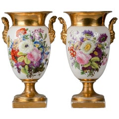 Pair of Paris Porcelain Floral Vases, circa 1820