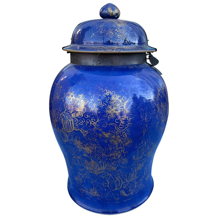 19th Century Chinese Cobalt Covered Porcelain Jar with Hinged Lid For Sale