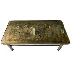 Seltener Philip und Kelvin Laverne Bronze Romanischer Couchtisch
