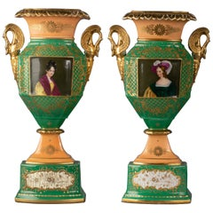 Pair of French Porcelain Green and Salmon Ground Portrait Vases, circa 1850