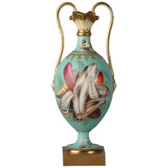English Porcelain Two-Handled Vase with Feathers, Minton, circa 1840