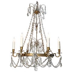 Early 20th Century Brass and Crystal Chandelier