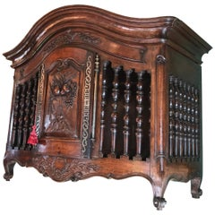 18th C. Hand Carved Wood Walnut Panetiere Cupboard Wall mount Cabinet Bread Box