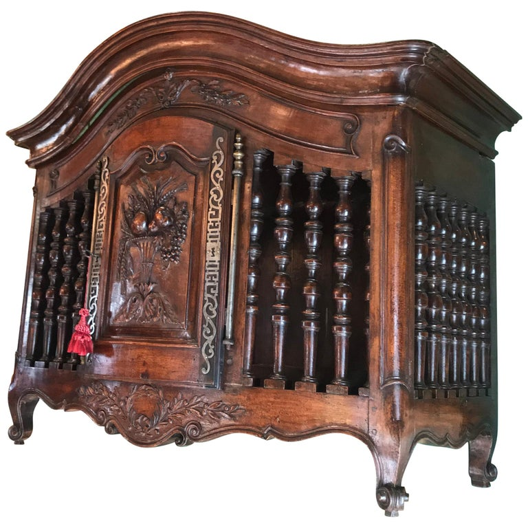 18th C. Hand Carved Wood Walnut Panetiere Cupboard Wall mount Cabinet Bread Box  For Sale
