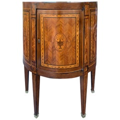 18th Century French Inlaid Demilune Cabinet