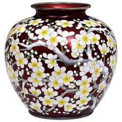 Japanese Silver Cloisonné Vase by Ando Jubei Meiji Period