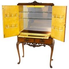 Antikes Getränkeregal, Vintage Cocktail Kabinett, Queen Anne Cabinet