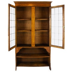 Antique Oak Bookcase, Arts & Crafts, Inlaid Bookcase, Leaded Glass Doors, B1169A