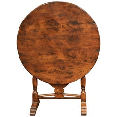 French Carved Walnut Round Wine Tasting Table from Burgundy with Lyre Decor