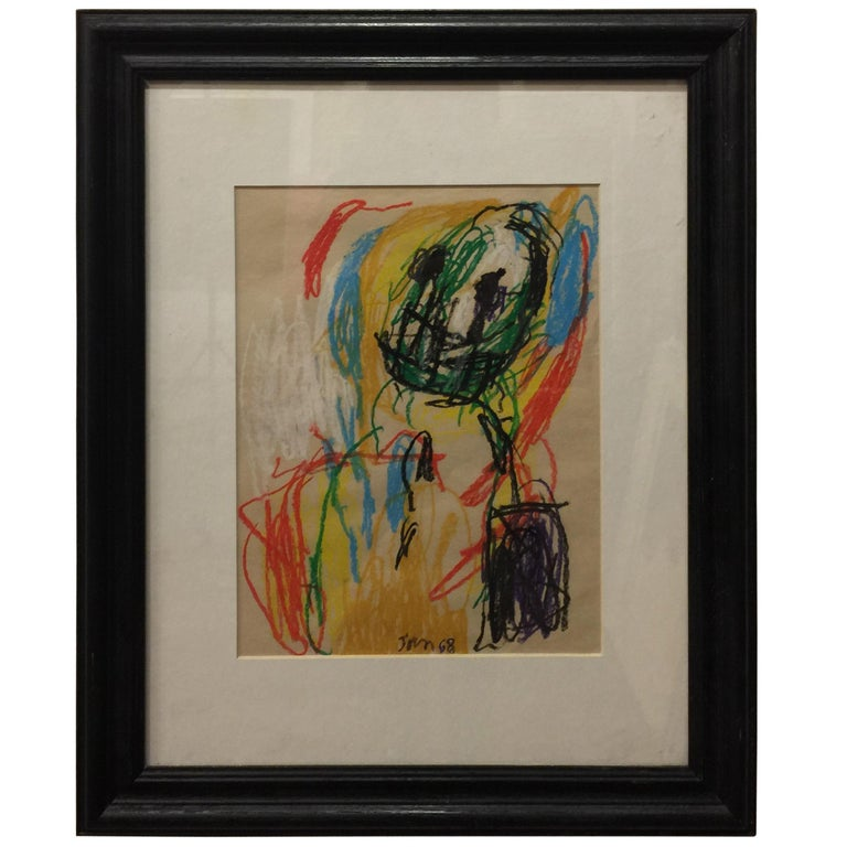 Sin Titulo (Untitled), crayon on paper by Asger Jorn 1