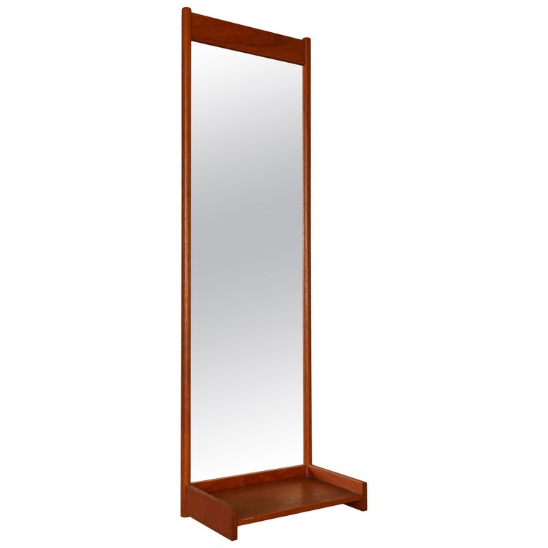 Mid Century Swedish Mirror with Shelf For Sale