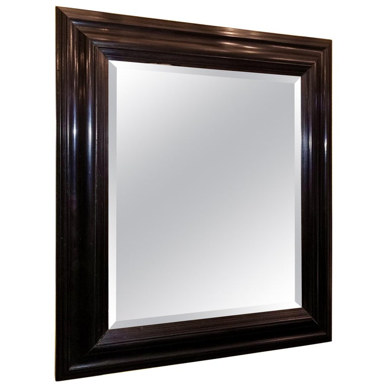 19th Century American Ebony Mirror with Bevelled Glass For Sale