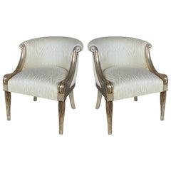 Sally Sirkin Lewis J. Robert Scott Blattsilber Gelegenheits-Stühle, Paar