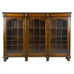 Antique Oak Bookcase, Vintage Oak Bookcase, Leaded Glass, Scotland 1920, B1175