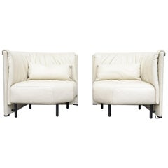 "White Leather Piero de Martini for Cassina ""Sampan"" Chairs"