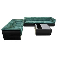 Saporiti Italia Living Room Set of 2 Sofas and Table, 1970s