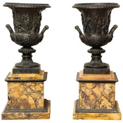 Pair of Bronze and Sienna Marble Medici Urns