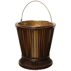 19th Century Mahogany and Brass, Waste Paper Basket