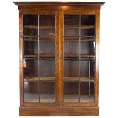 Eiche-Bücherschrank, Arts & Crafts Bücherregal, Geschnitzter Eiche-Bücherschrank, Schottland 1915, B1190
