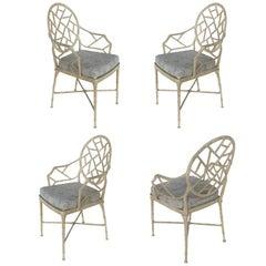 Aluminium Lattice Motif Garden Chairs with Loose Seat Cushions, Set of 4