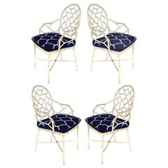 Aluminium Lattice Motif Garden Chairs with Loose Seat Cushions, Set of 4