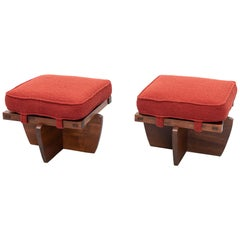 Pair of Greenrock Stools by George Nakashima, New Hope, PA, 1980s