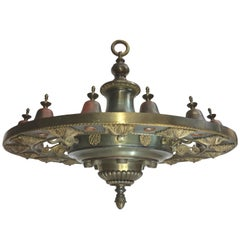 Four Grand Scale Bronze Lobby Chandeliers